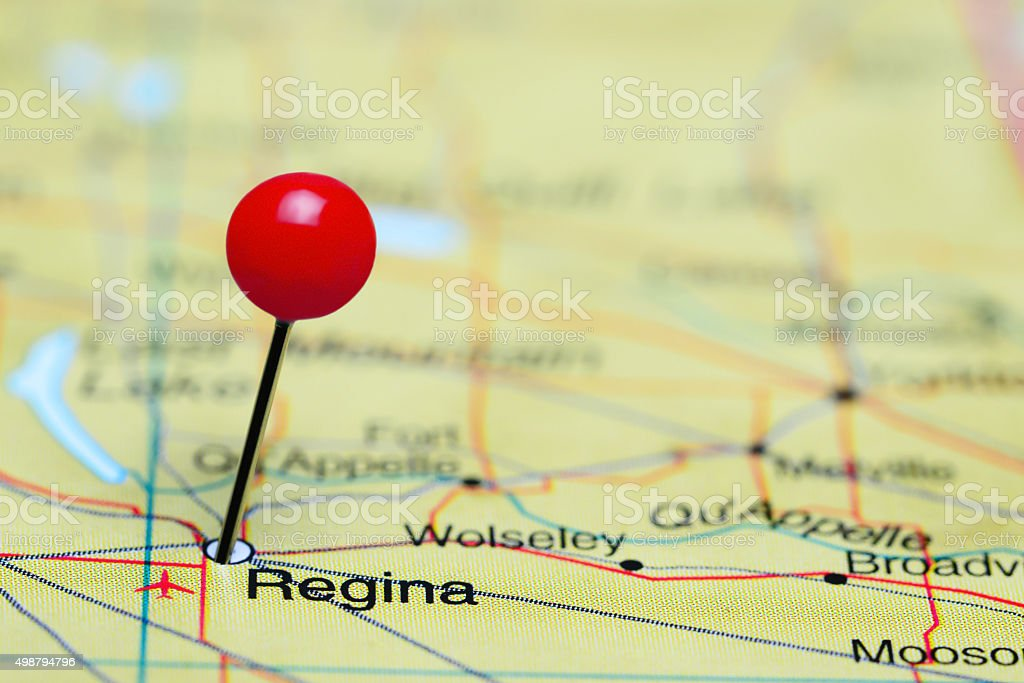 Regina pinned on a map of Canada stock photo