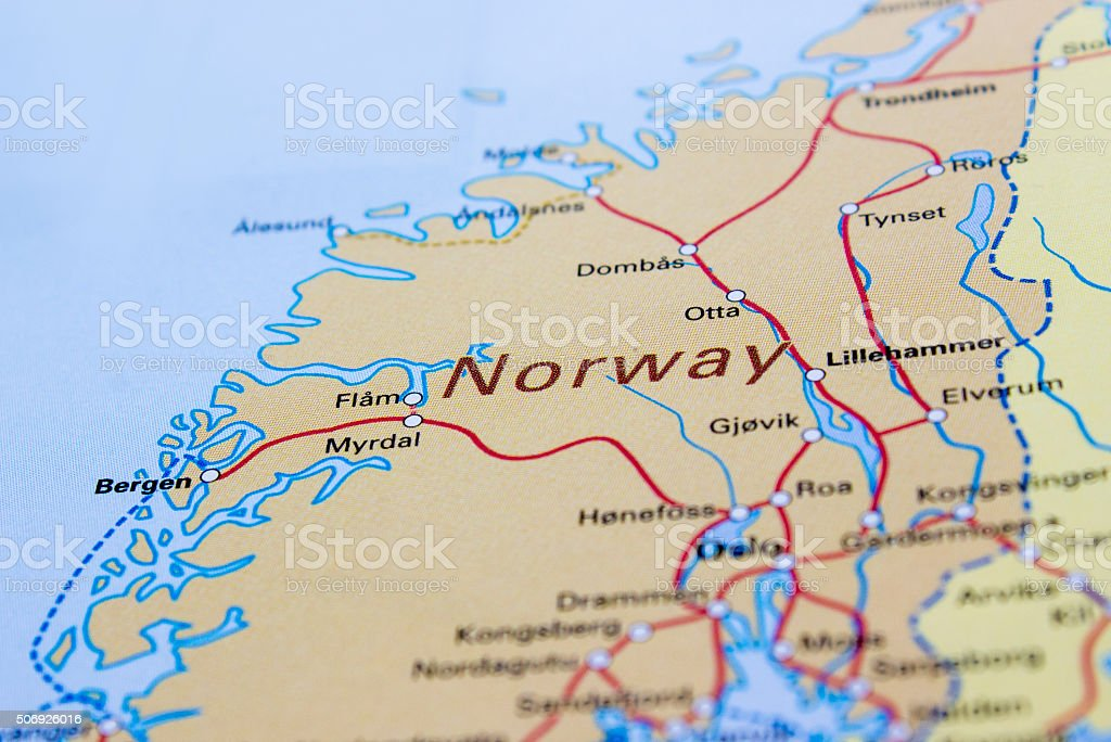 Regional and high-speed railroad tracks map of Norway stock photo