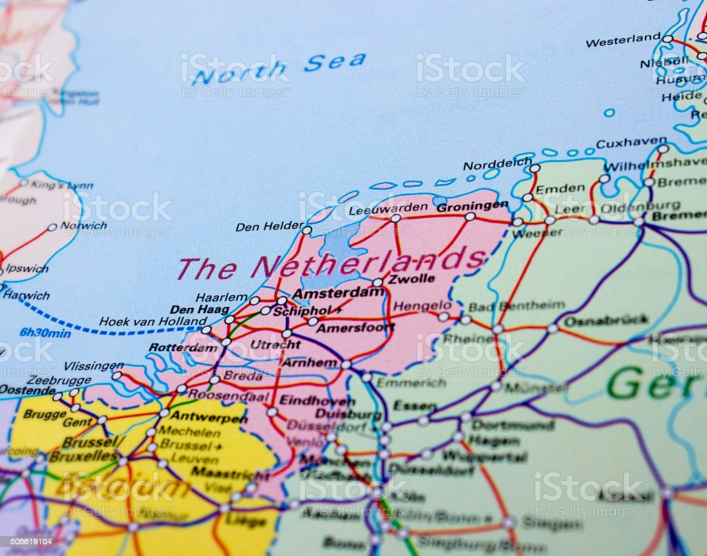 Regional and high-speed railroad tracks of Netherlands stock photo