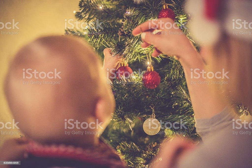 Regional Christmas at home - Family Xmas tree decoration stock photo