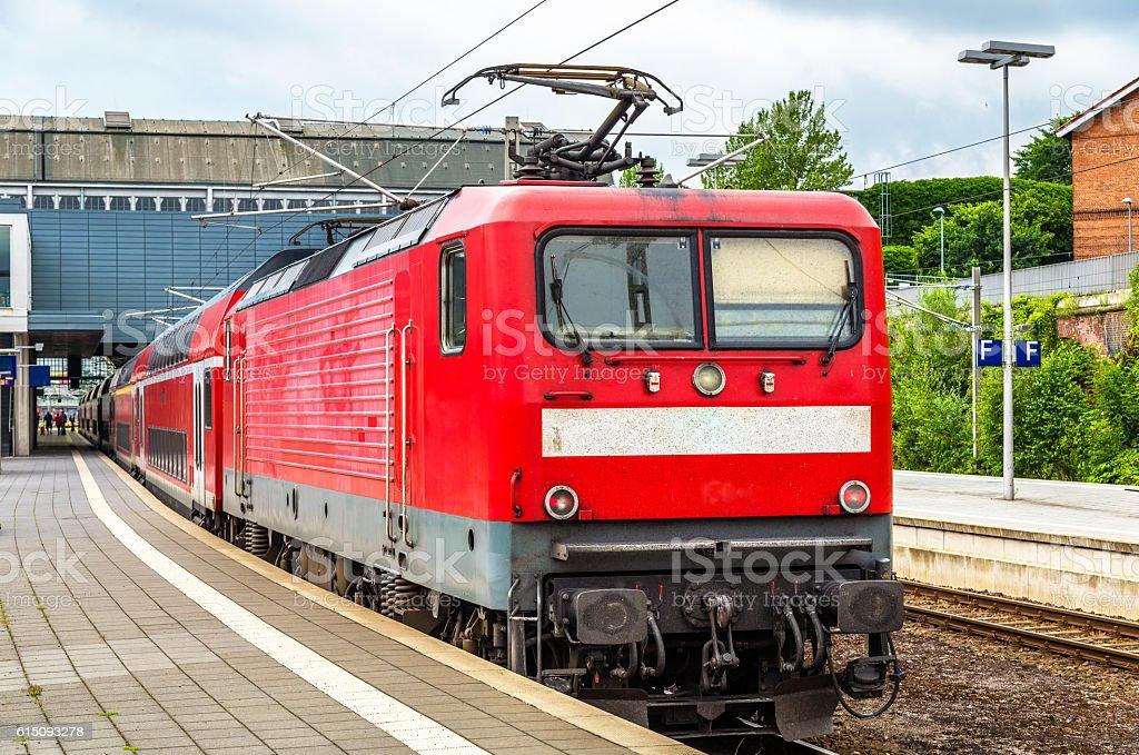 Regional express train at Lubeck Main Station stock photo