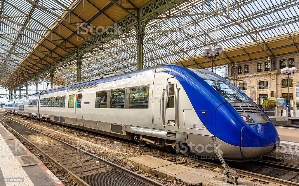 Regional express train at Tours station - France stock photo