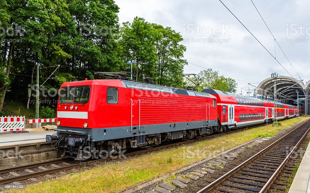 Regional express train in Kiel Central Station - Germany stock photo