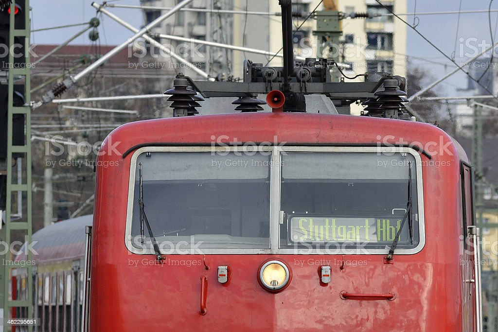 Regional train arriving Stuttgart stock photo