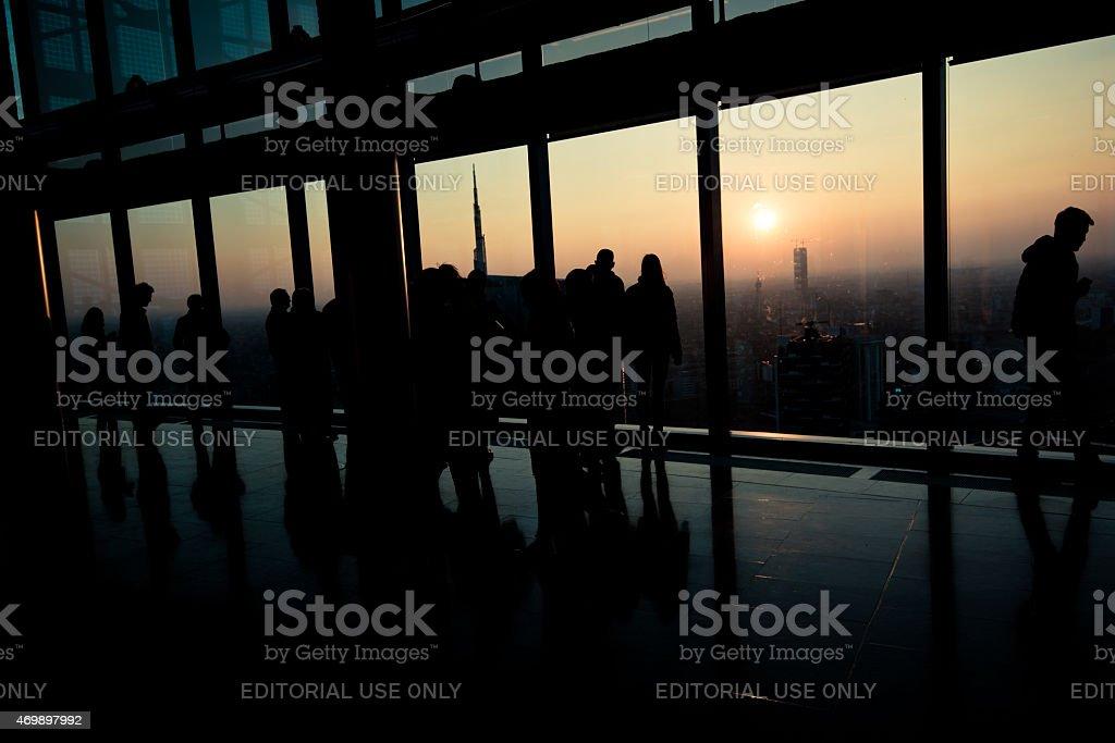 Regione Lombardia skyscraper, floor 39, panoramic viewpoint over the city stock photo