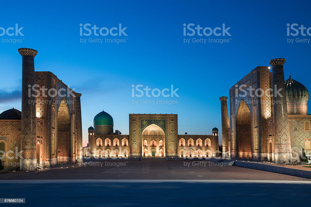 Registan Square in Samarkand, Uzbekistan. stock photo