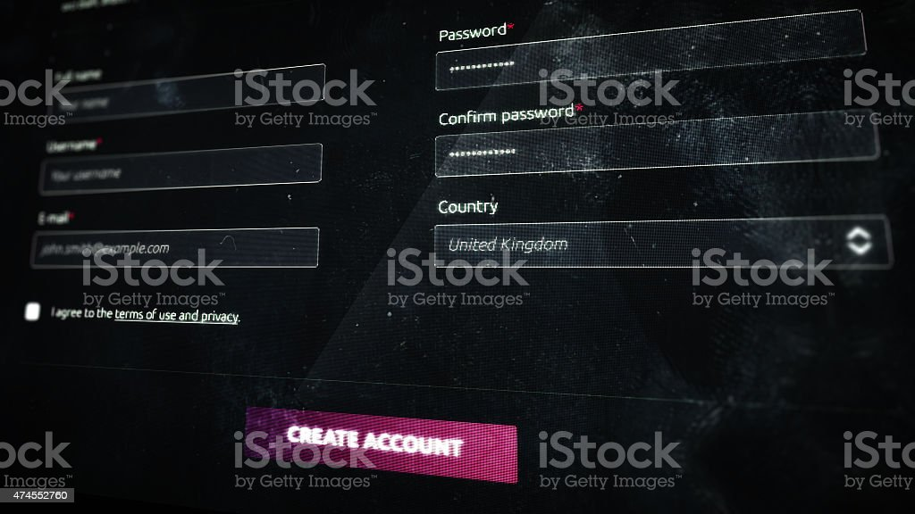 Register form on screen stock photo