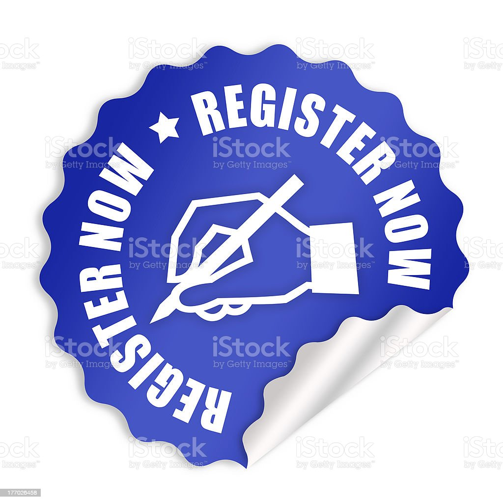 Register now label royalty-free stock photo