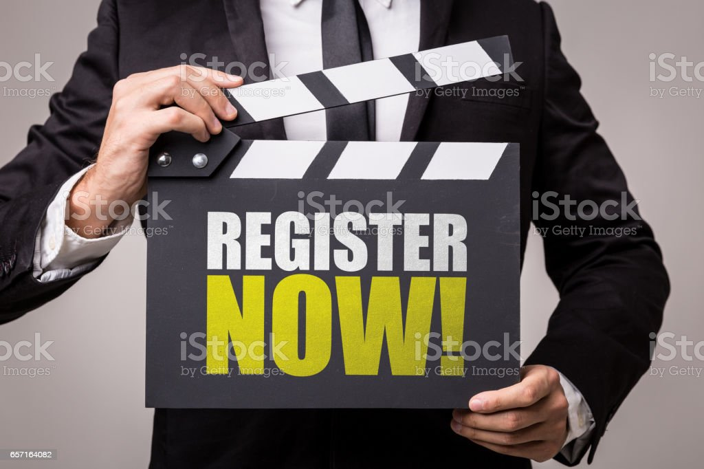 Register Now! stock photo
