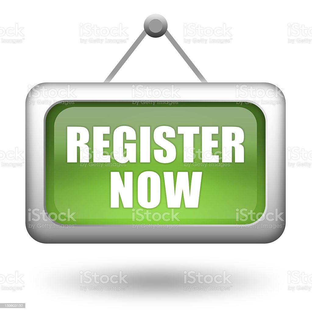 Register now sign stock photo