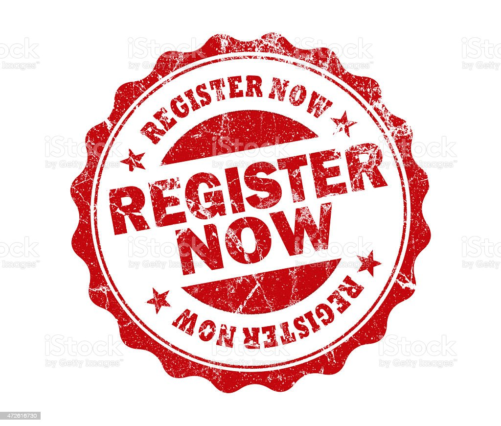 register now stamp stock photo