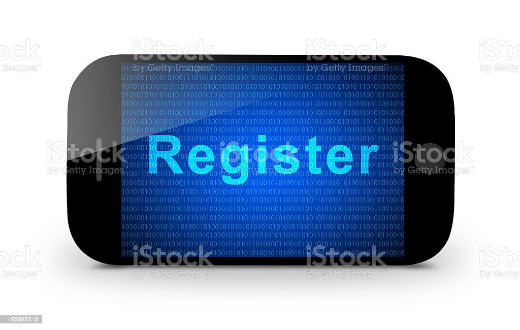 Register on mobile stock photo