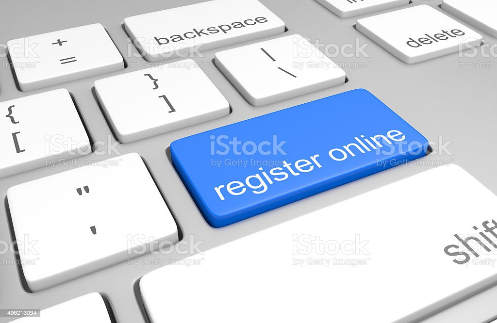 Register online key on computer keyboard for easy registration access stock photo
