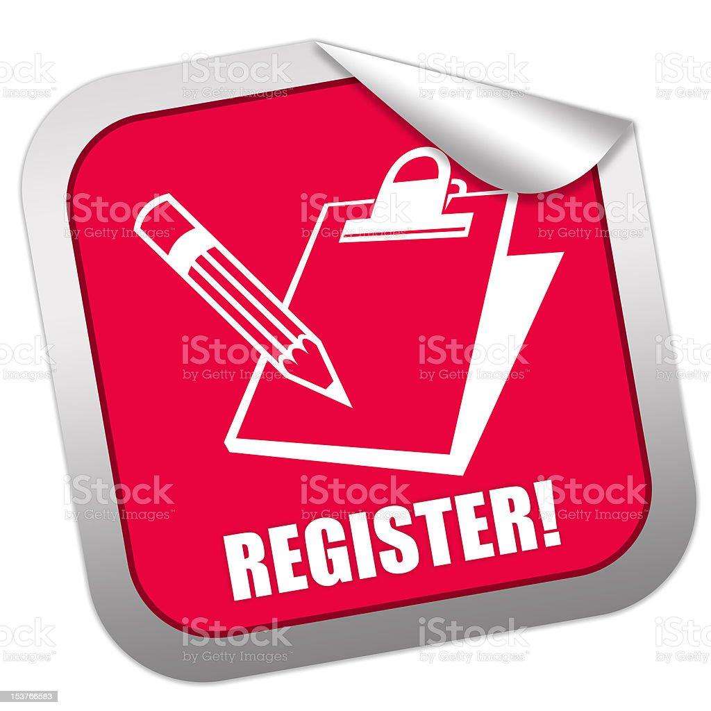 Register sticker stock photo