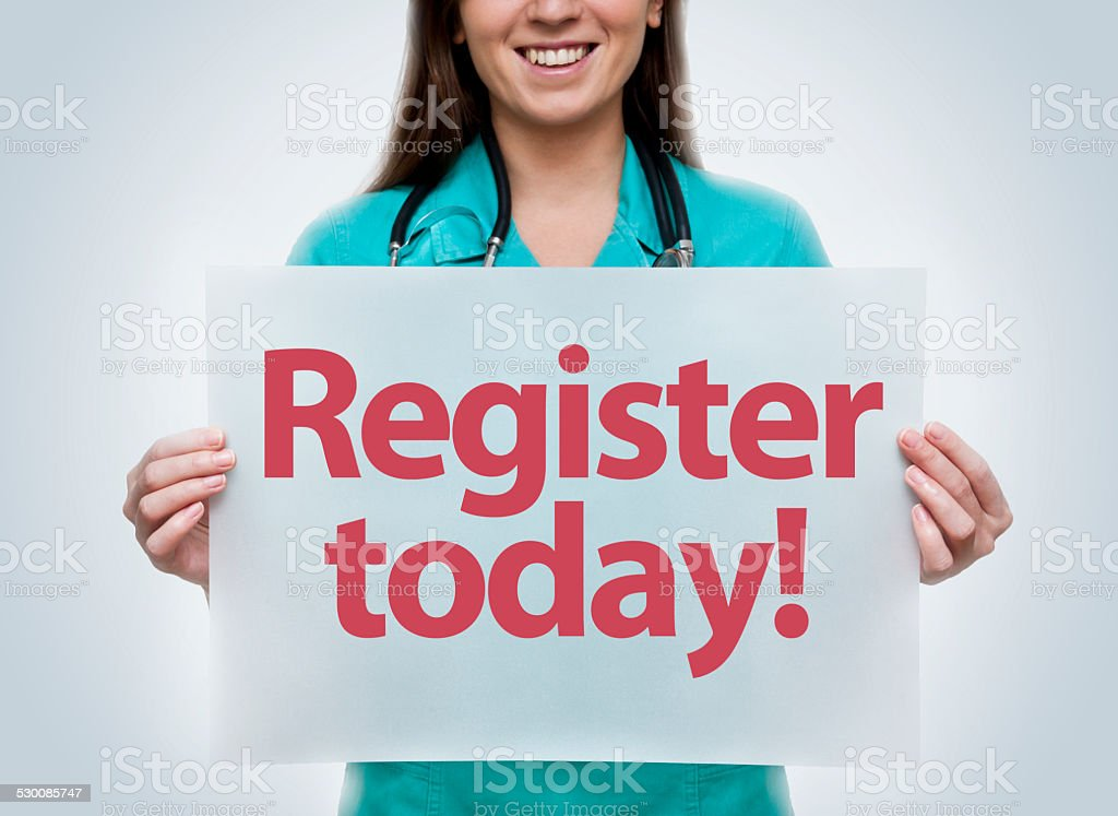Register today (Click for more) stock photo