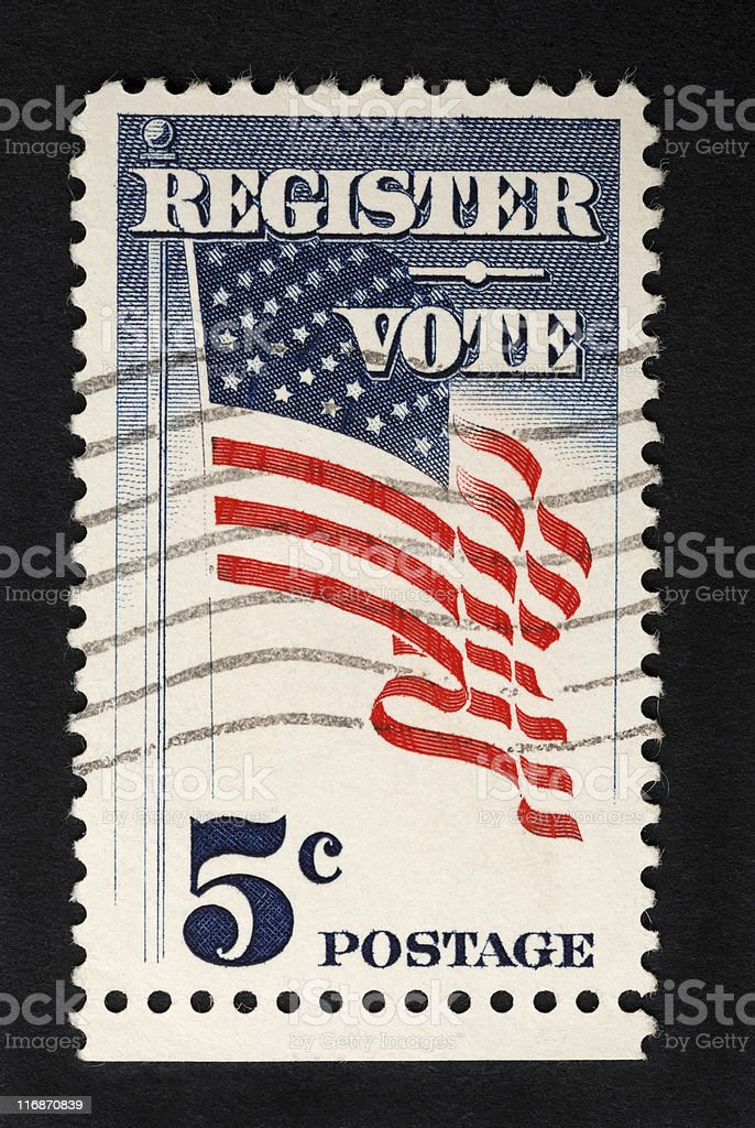 Register Vote 5 Cent Postage Stamp stock photo