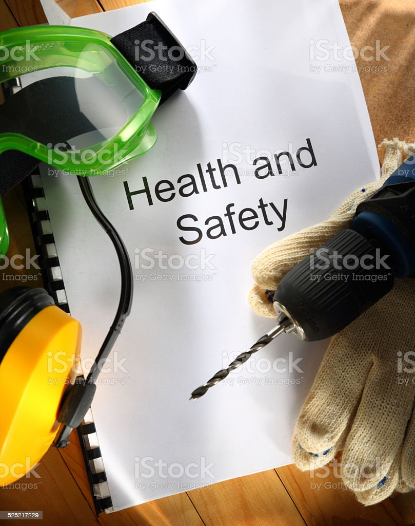 Register with drill and earphones stock photo