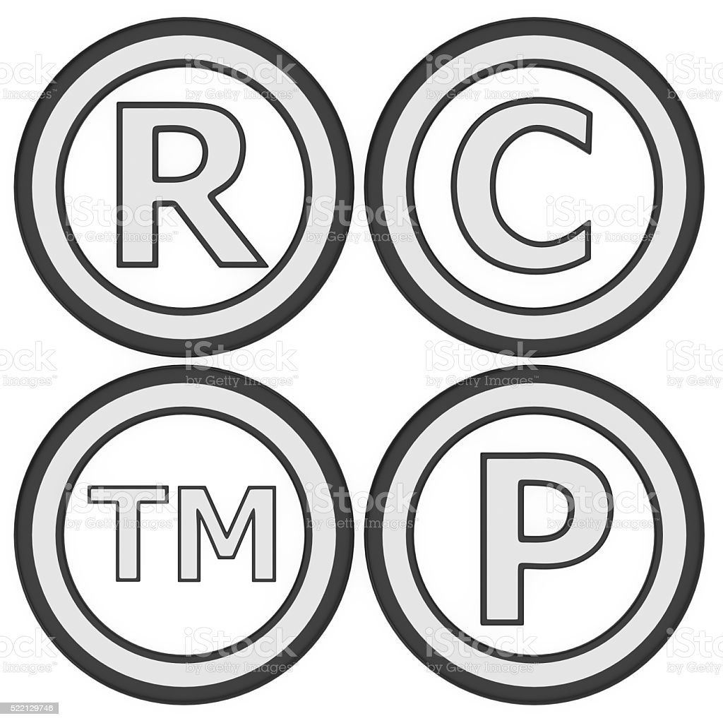 Registered, copyrighted, patented and trademark set stock photo