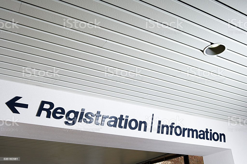 Registration and information sign stock photo