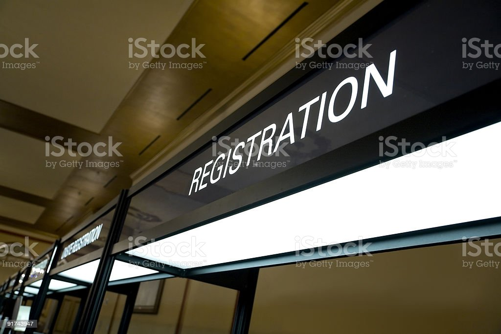 Registration Booth Sign stock photo