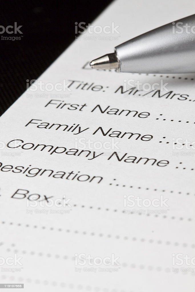Registration form royalty-free stock photo