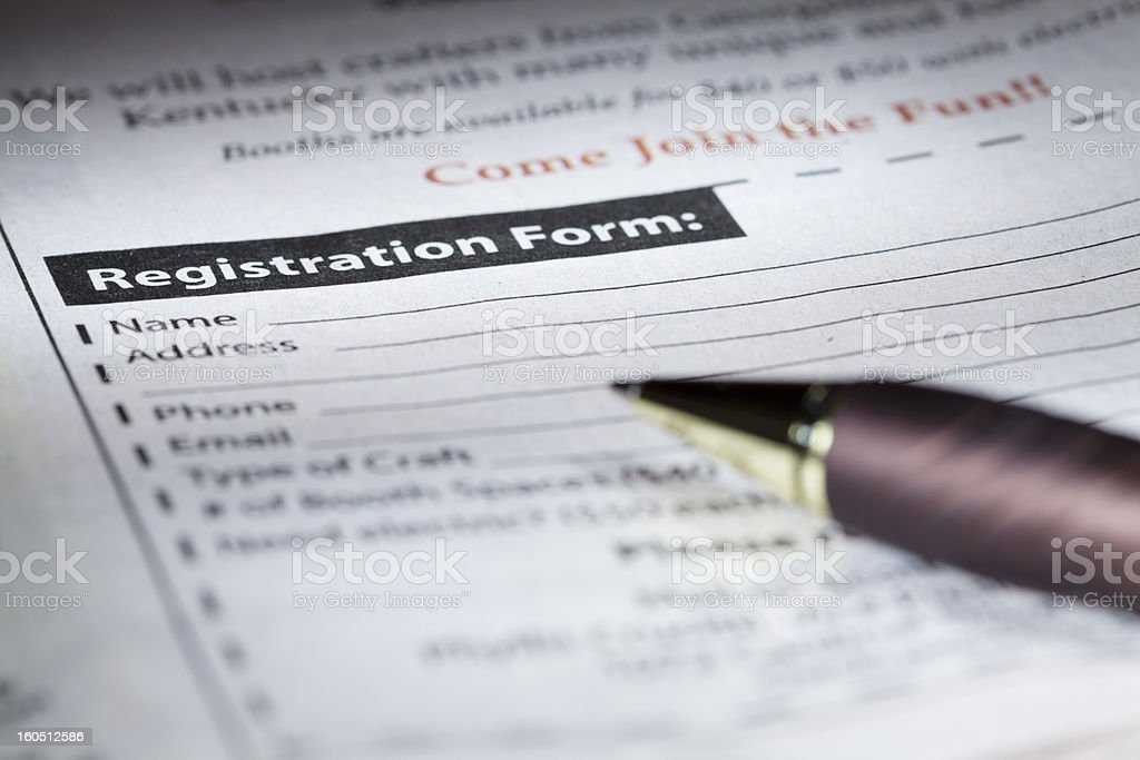 Registration form stock photo