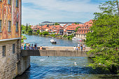 Regnitz River and the Old Town hall in Bamberg