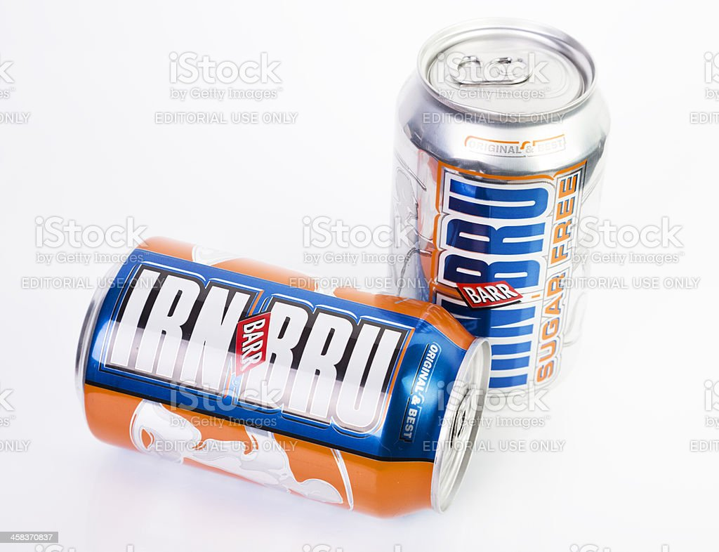 Regular and Sugar Free Irn Bru Cans stock photo