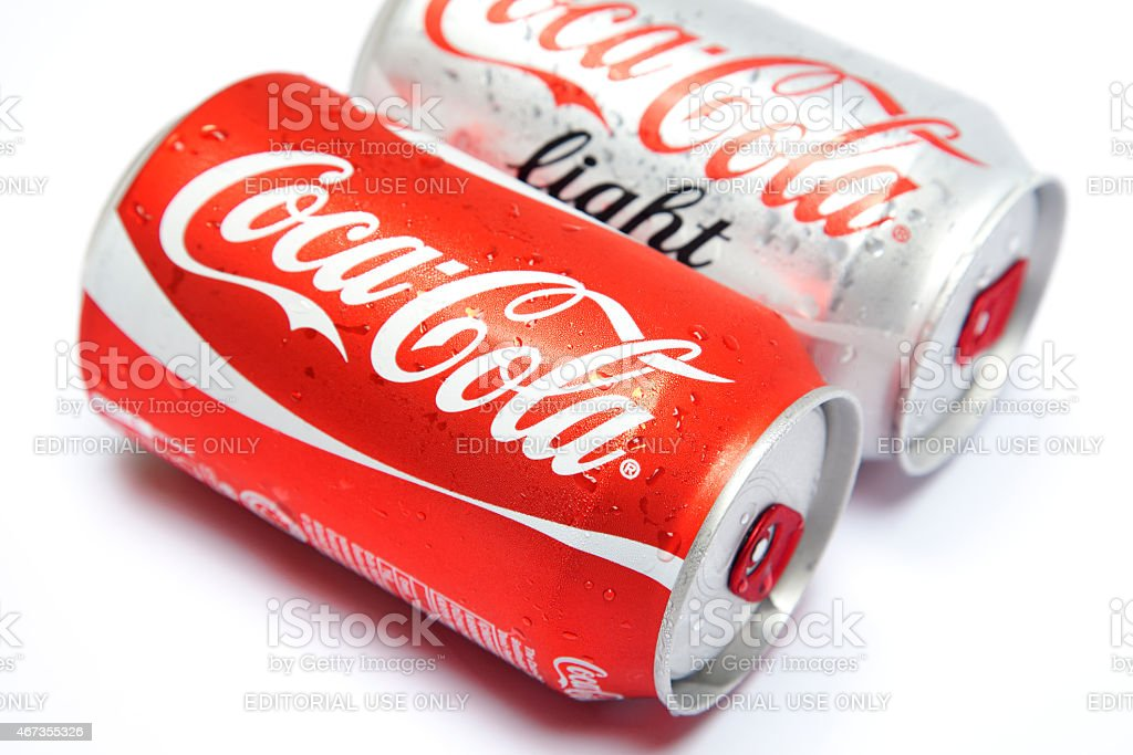 Regular coke and light coke drinks stock photo