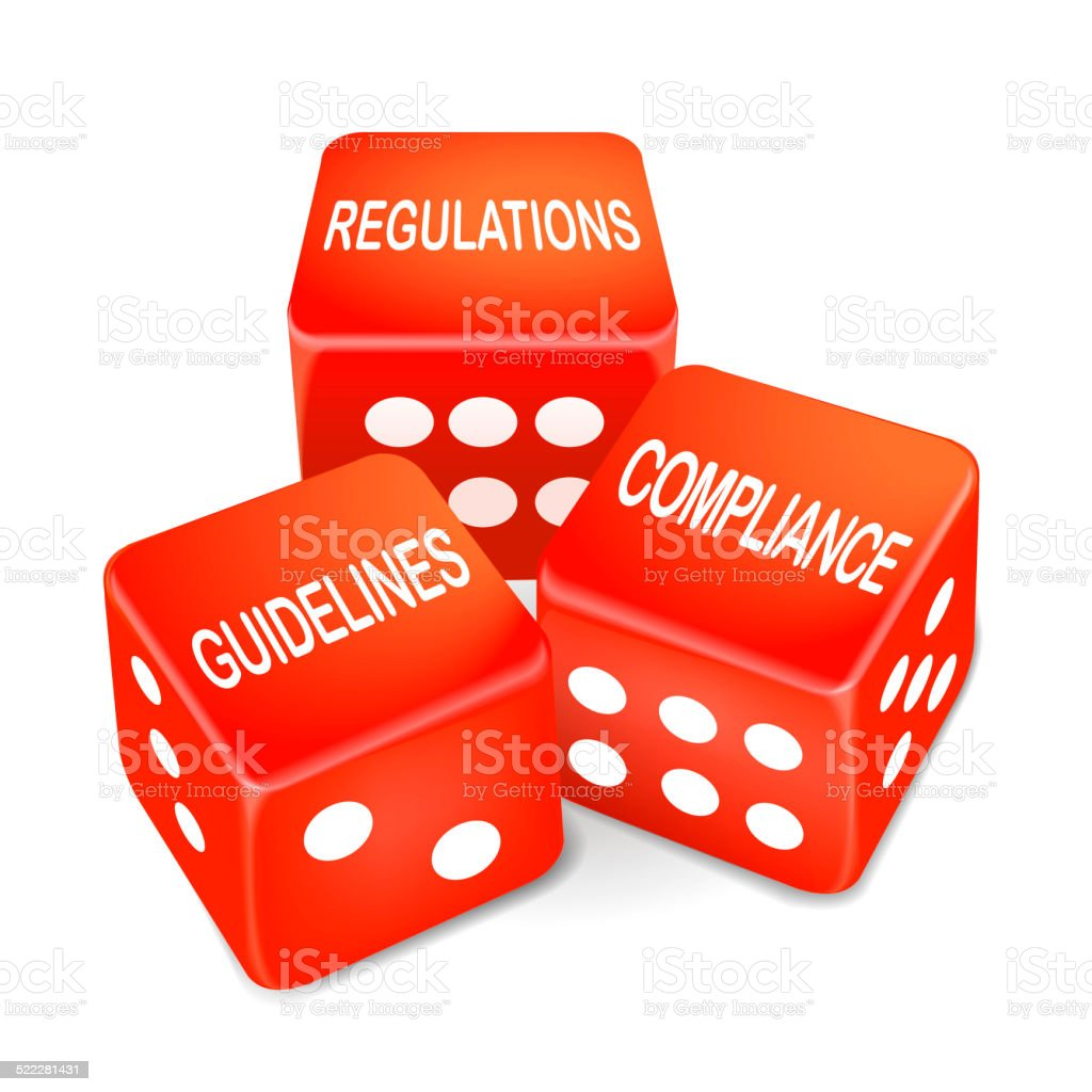regulations, guidelines and compliance words on three red dice stock photo