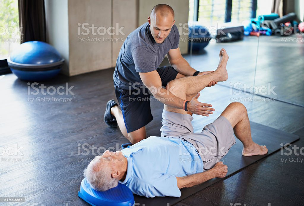 Rehabilitation can be tough going stock photo