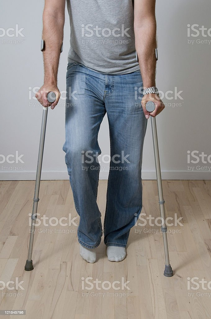 Rehabilitation with a pair of crutches royalty-free stock photo