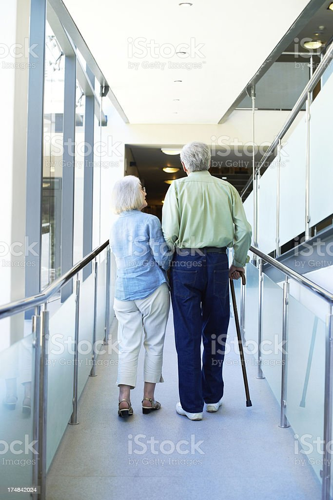 Rehabilitation with his wife royalty-free stock photo