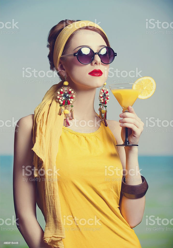 Rehad women with coktail. P stock photo