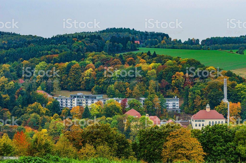Rehaklinik Bad Gottleuba im Herbst stock photo