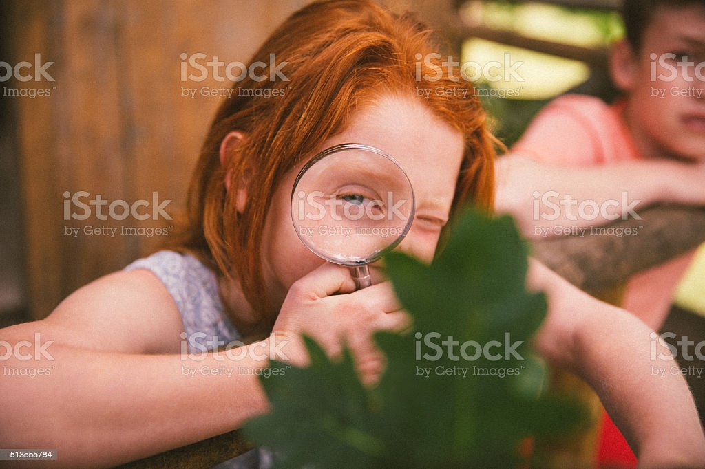 Rehead girl holding magnifying glass up to an oak leaf stock photo