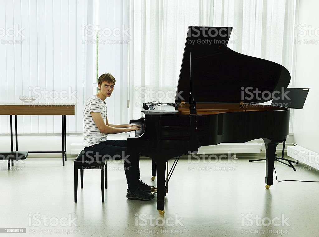 Rehearsal before concert pianist stock photo