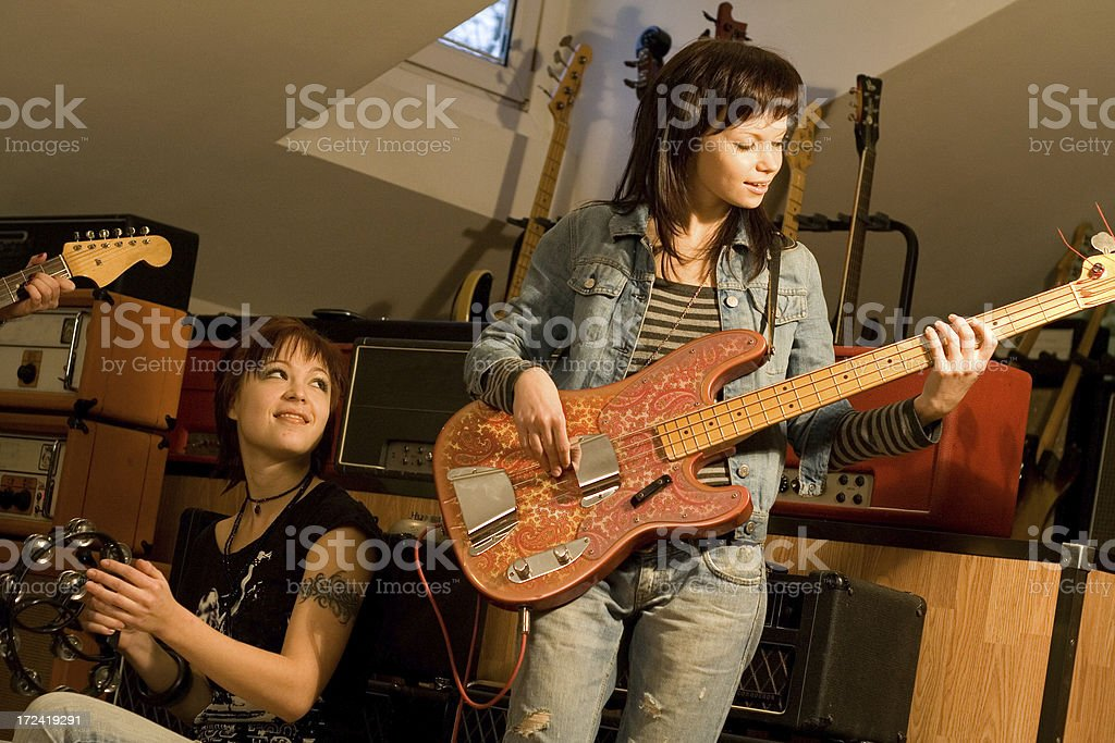 rehearsal of musical band stock photo