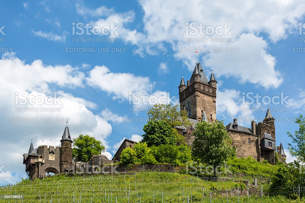 Reichsburg Castle above city of Cochem in Germany stock photo