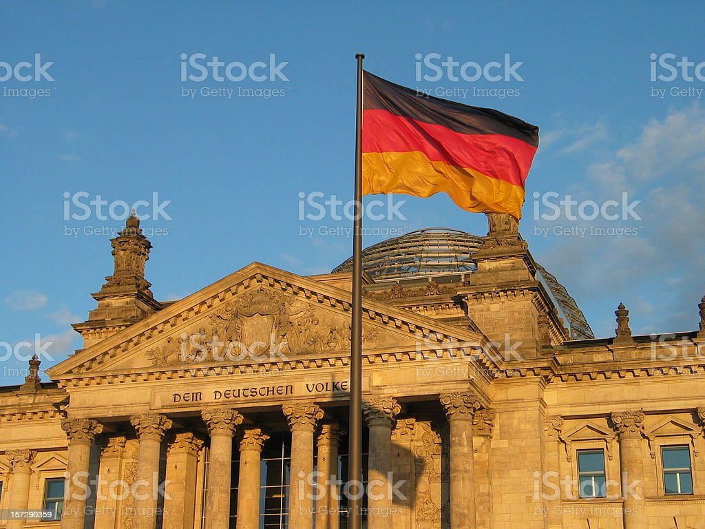 Reichstag Berlin - German Flag royalty-free stock photo