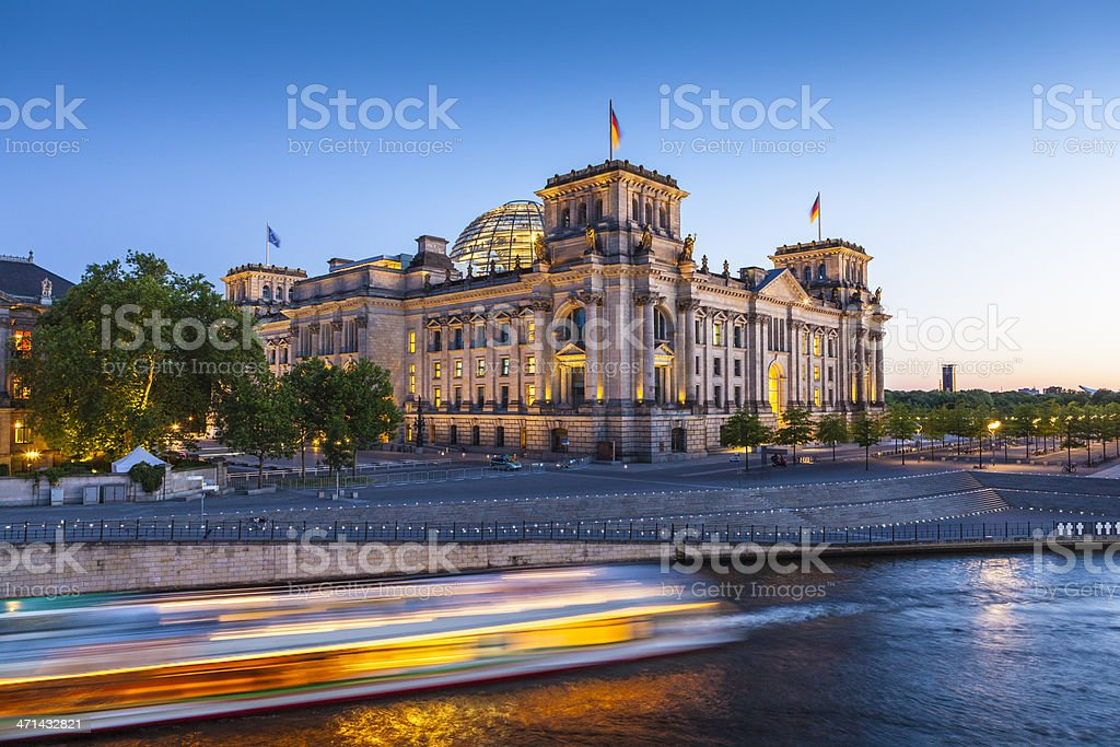 Reichstag, Berlin photographed from across the River Spree stock photo