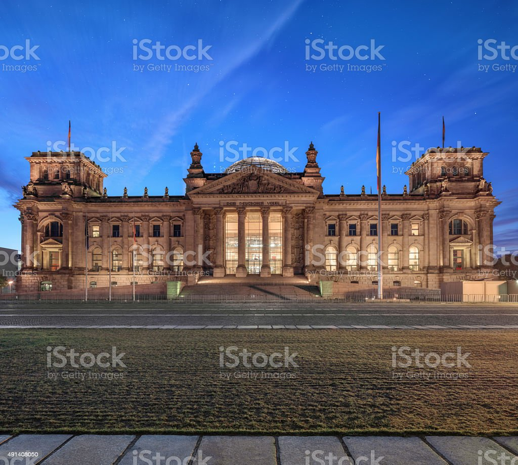Reichstag building at night stock photo
