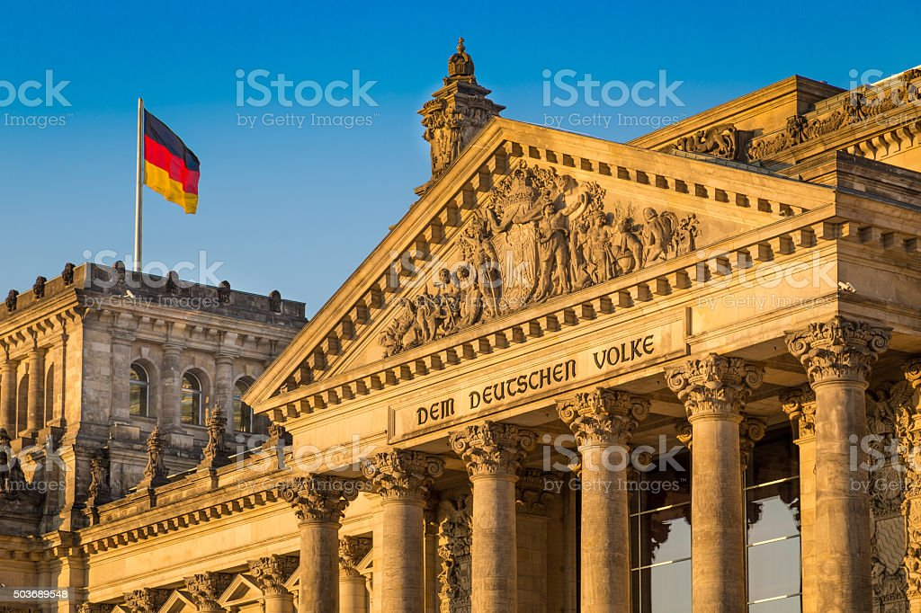 Reichstag building at sunset, Berlin, Germany stock photo