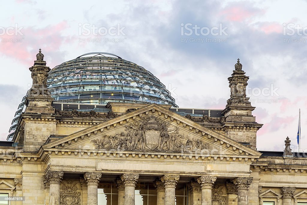Reichstag building in Berlin against a sky stock photo