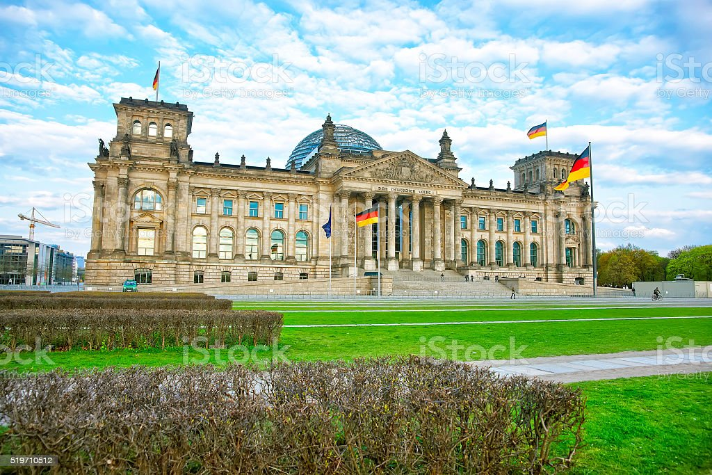 Reichstag building in Berlin in Germany stock photo