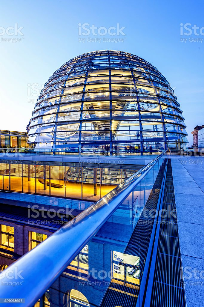 Reichstag dome in Berlin at dusk stock photo