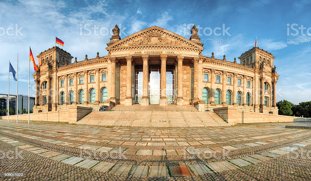 Reichstag in Berlin, Germany, panorama stock photo