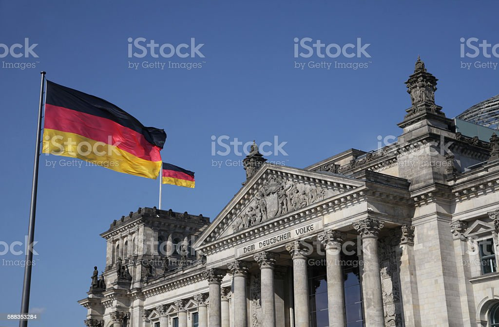 Reichstag or Deutscher Bundestag in summer stock photo