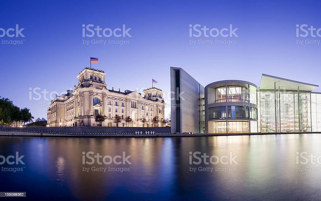 Reichstag Parliament Building on the Spree River in Berlin Germany stock photo