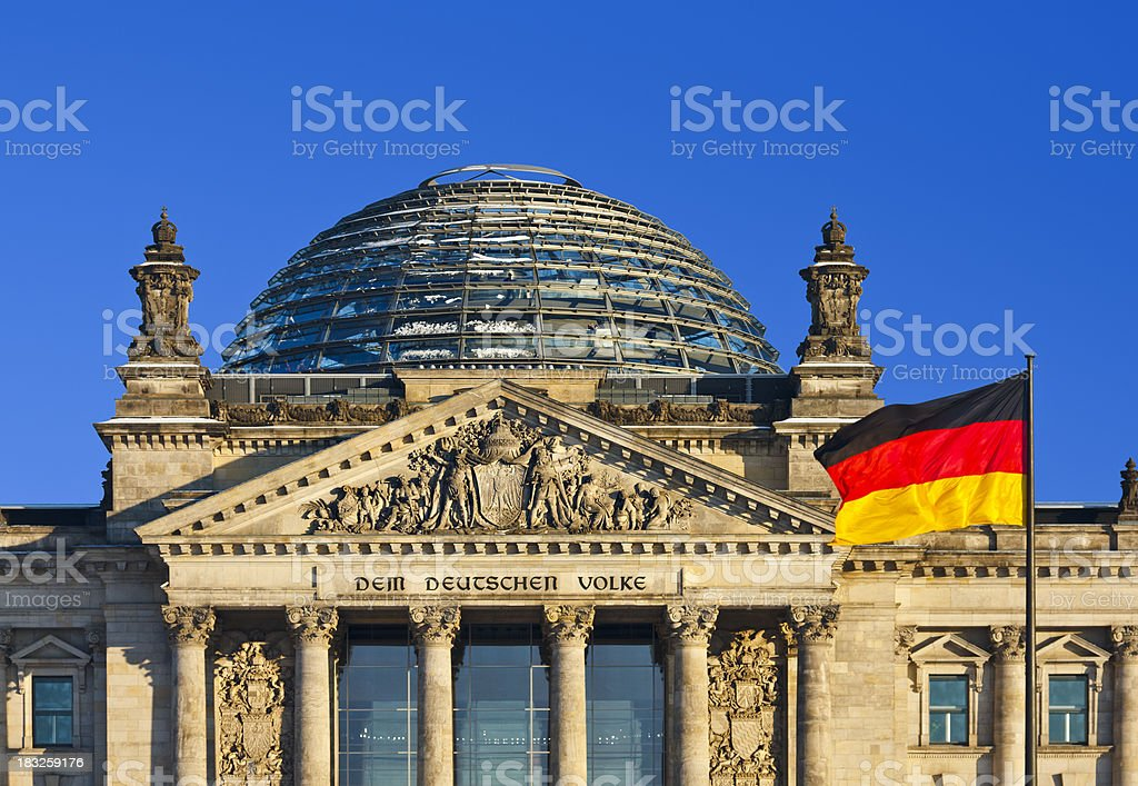 Reichstag With German Flag stock photo